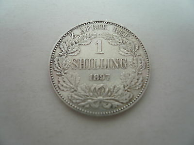 silver shilling 1/- coin, 1897, South Africa