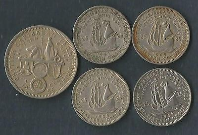 British East Carribean Territories - 25 Cent - 4 Dates + 50 Cent - lot