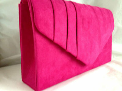 New Hot Fuschia Pink Faux Suede Evening Day Clutch Bag Wedding Prom Club Party
