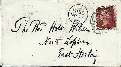 GB 1869 1d Red Pl.117 Cover with Diss 254 Duplex to East Harling via Thetford