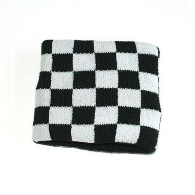 Black & White Check Chequerboard Sweatband Wrist Band