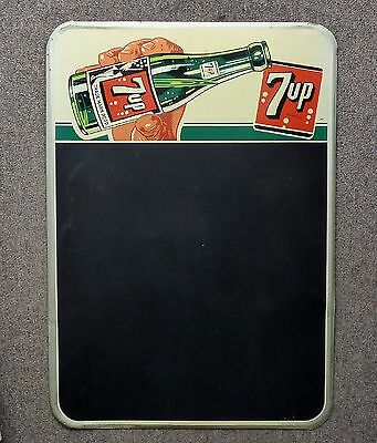 Superb 50's rare Canadian Seven-Up 7up tin menu board sign Bubble Girl FREE SHIP