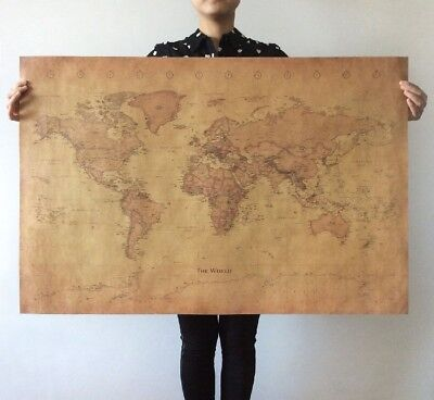 """Large Vintage Retro Paper Old World Map Poster Wall Chart Home Art Decor 28""""x18"""""""