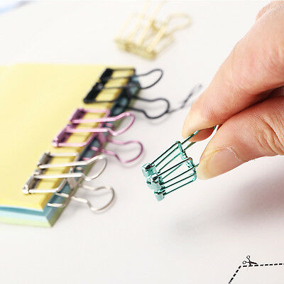10pcs Colorful Width Metal Binder Clip File Paper Organizer Clip Office Supplies