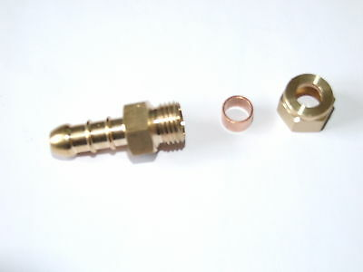 Fulham gas nozzle 8mm OD copper to rubber LPG gas hose.