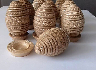 """3.5"""" Hand carved wooden  Ukrainian Egg with Stand, varnished/ PYSANKY EGGS"""