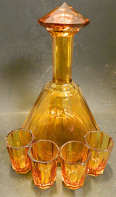 Vintage (5) Piece Geometric Amber Glass Cordial Set Decanter + 4 Glasses Very Gd