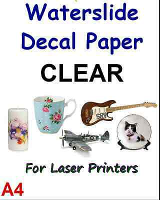 """TRANSFER PAPER/CLEAR & WHITE A4 LASER WATER SLIDE DECAL 1-20 SHEETS 8.3"""" x 11.7"""""""