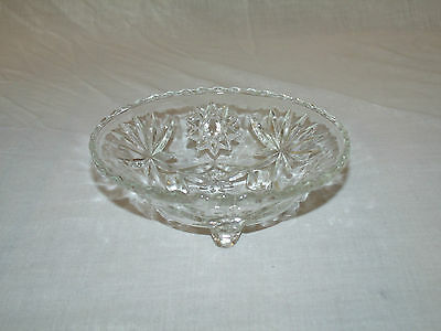 Early American Prescut 3 Footed Candy Dish or Bowl by Anchor Hocking