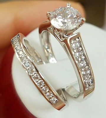 14K White Gold 2ct Round Wedding and Engagement Ring and Band 2 pc Set 5 to 9
