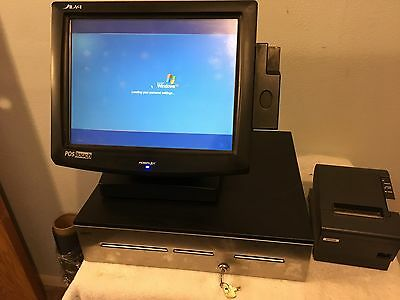 POSIFLEX point of sale system TP-8000 TP-8015B w/cash drawer and M244A printer.