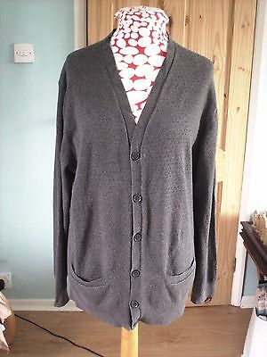 Men's vintage 80's dark grey airtex cardigan from French Connection