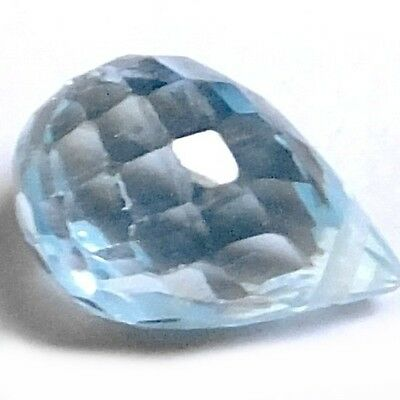 NATURAL RAVISHING AQUA BLUE AQUAMARINE (8 x 5.7 mm BRIOLETTE CUT (DRILLED)