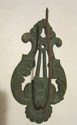 Vintage cast iron wall mount note or receipt hook mkd. U.S.A. - orig. green  VGC