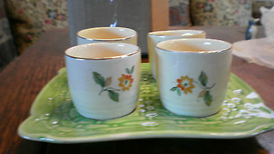 Rare Wade Heath Egg Cup Set With Tray