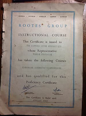 Hillman Minx Singer Easidrive Rootes Group Proficiency Certificate Watford Mo Co