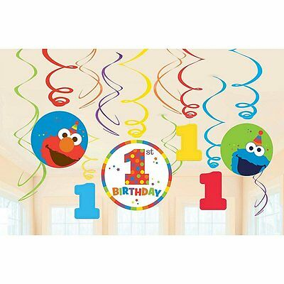 Sesame Street 1st Birthday Elmo Dangling Swirl Decorations (12 Piece Set) 671835