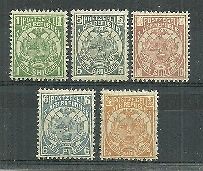Transvaal Stamps #130-134 Lot Of 4 (Hinged) From 1885-93.