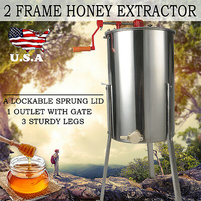 2 Frame Honey Extractor Stainless Steel Manual With Cover & Honey Outlet &Legs