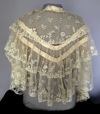 19th C. Long deep Brussels / Honiton Appliqué Lace Pelerine ruffled cape COSTUME
