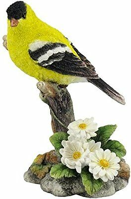 "Goldfinch Bird Figurine Yellow on Branch Flowers 4.5"" High New in Box"