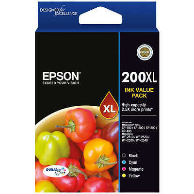 Original Epson Genuine 200XL VALUE PACK Ink for XP100-XP400 WF2530 Not Expired