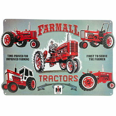 Farmall Evolution Tractor Collage Embossed Tin Sign Vintage Style Garage 18 x 12