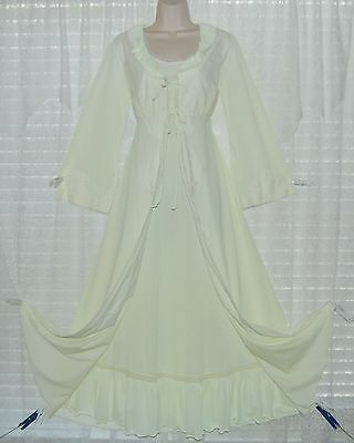 Vtg Green Peignoir Robe Nightgown Gown Negligee Set With Lace S
