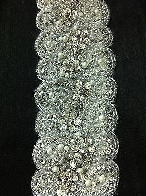 "Bridal belt hand embroidered with pearls and rhinestones, white & shiny 36"" long"
