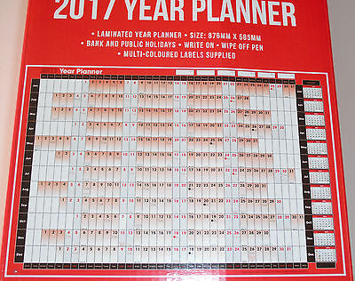 Plastic Coated Laminated 2017 Wall Year Planner Calender Pen & Label Stickers