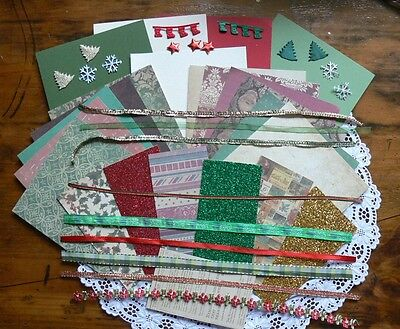 CHRISTMAS 1- Contrast CARD KITS with 4 Contrast Cardstock 12x6& Ribbons Mixture