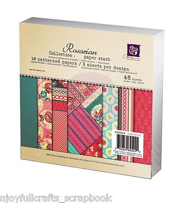 ROSARIAN 6x6 PRIMA 48 Single sided  3 x 16 Patterned Paper Card Pad
