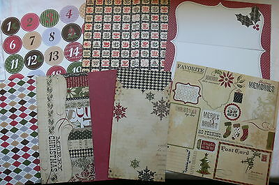 MERRY CHRISTMAS EchoPkSmplSt CARD KIT 12 Patterned Dbl sided 12x6=24 6x6 Mixture