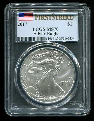2017 American Silver Eagle 1 Oz. $1 Coin PCGS MS70 First Strike Flag Label