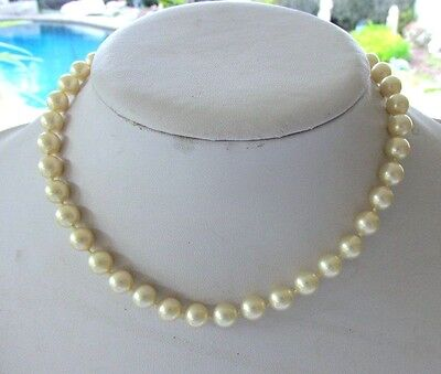 Majorica Necklace Single Strand Champagne Pearl Stunning Clasp