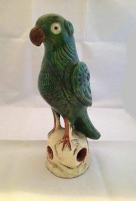 Chinese Terra Cotta Glazed Roof Tile Finial Green Parrot