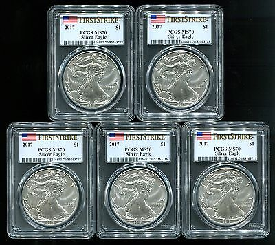 5 - 2017 American Silver Eagle 1 Oz. $1 Coin PCGS MS70 First Strike Flag Label