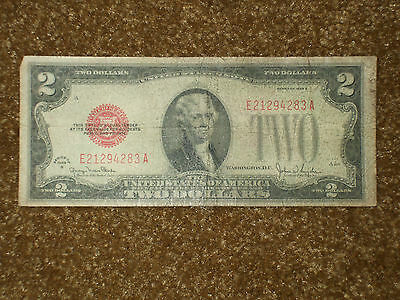 1928 Two Dollar Bill Series 1928 G, Red Seal, Serial # E21294283A