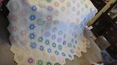 "1880 ANTIQUE New England Patchwork Quilt, ""GRANDMA'S FLOWER GARDEN"", Crafts GIFT"