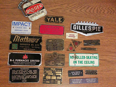 Vintage collection metal serial number manufacturers plates tags appliances etc