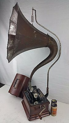 Antique Edison Fireside Gramophone Phonograph & Cygnet Horn Wood Grain Painted