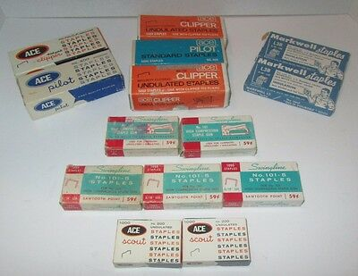 Lot 14 Boxes Vintage Staples Swingline - Ace - Markwell