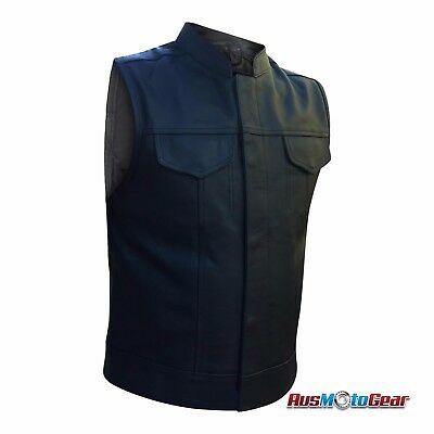 Motorcycle Vest Sons Of Anarchy Style Cowhide Leather Vest jacket Black