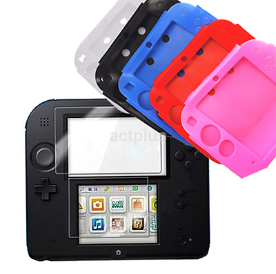 Soft Silicone For Nintendo 2DS Screen Rubber Skin Case Cover Crystal Clear US