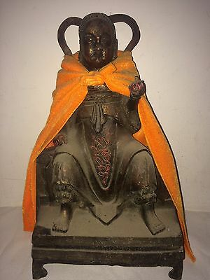 """Collectable Antique Old Brass""""zhen Wu Founder God"""" Deity Satue Rare"""