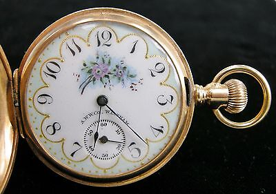 Antique 1891 American Waltham Pocket Watch w/ Solid 14k Yellow Gold Hunter Case