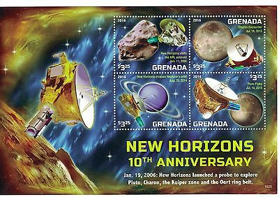 [D*] Grenada - 2016 Space New Horizons - Sheet of 4 MNH