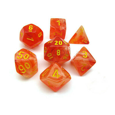 Orange with Yellow Ghostly Glow Polyhedral 7-Die Set Chessex