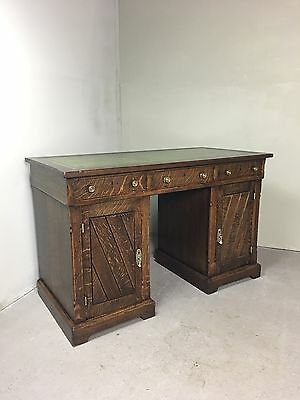 ANTIQUE 19th CENTURY TWIN PEDESTAL KNEE HOLE DESK GREEN LEATHER TOP SOLID OAK