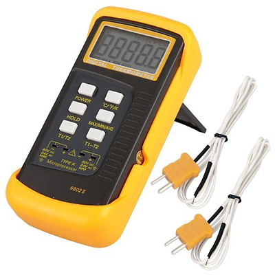 Signstek 6802 II Dual Channel Digital Thermometer with 2 K-Type Thermocouple Sen